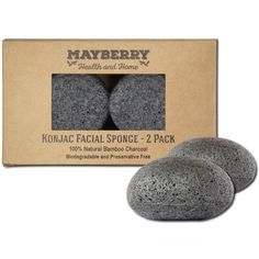 Konjac Exfoliating Sponge with Bamboo Charcoal – 2 Pack - 100% Natural Charcoal Face Sponge for Improving Skin's Look and Feel - Face Charcoal Sponge with Attached String ** Read more reviews of the product by visiting the link on the image.