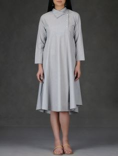 Buy Grey Collared Cotton Dress Women Dresses Online at Jaypore.com