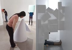 THE QUADRANGULAR CLOUD  A 'hotel' is installed in the Warehouse Gallery of the Syracuse University. The main gallery is transformed into small ephemeral spaces where the visitor is invited to take a break from reality and to take a mini-vacation complete with a number of very simple, inexpensive and joyful elements. When seated or lying down, the public's focus is drawn to the interior space and lighting. The choice of material is crucial since the objects serve to facilitate new experiences…