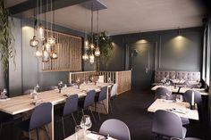 Amp lamps in modern Japanese restaurant Hatoba in Copenhagen. Photo by Philip Ørneborg