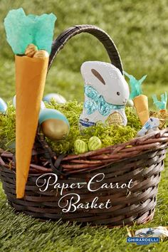 A well-adorned basket should include some decor on the handle - especially decor that can be filled with Ghirardelli Chocolate Eggs. Click for the step-by-step instructions to make these simple paper carrots.
