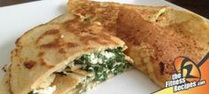 Filled Quinoa Pancakes (spinach/feta)  100 g quinoa flour 250 ml low fat milk (or soy milk, water,…) 2 eggs 5 g (1.5 teaspoon) baking powder 200 g low fat feta cheese 80 g fresh spinach Mix (whisk) all ingredients for the pancakes together in a bowl. Heat up a pan over medium heat.  Poor 1/3 of the mixture in the pan.Bake each side a few minutes. Distribute 1/3 of the raw spinach and 1/3 of the low fat feta cheese on the pancakes.  Close the pancake and bake each side for a few minutes.