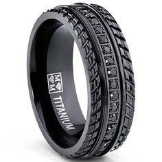 Oliveti Men's Black Plated Titanium Black Cubic Zirconia Comfort-fit Ring