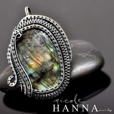 Wire Wrap Labradorite Pendant, Fine Silver and Garnet · Nicole Hanna Jewelry · Online Store Powered by Storenvy