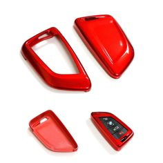 Metallic Red Remote Key Fob Shell Case Cover Bag Holder for 2014 2015 BMW X5 X6 #Budgettank