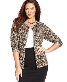 Charter Club Plus Size Cardigan, Long-Sleeve Animal-Print - Plus Size Sweaters - Plus Sizes - Macy's