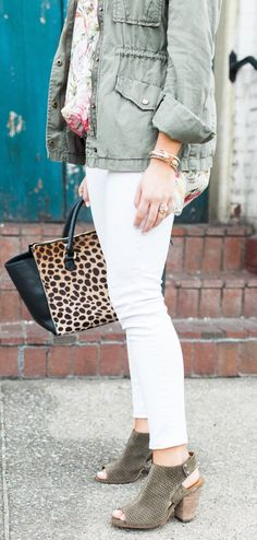 #spring #outfits Green Jacket & Leopard Tote Bag & White Skinny Jeans & Green Suede Open Toe Booties