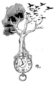 Tree clock ravens by miketooch