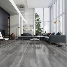 Novus x x Oak Laminate Flooring in Raw Sienna Grey Laminate Flooring, Refinishing Hardwood Floors, Grey Wooden Floor, Best Laminate, Inside Home, Floor Design, Basement Remodeling, Living Room Decor, Interior Design