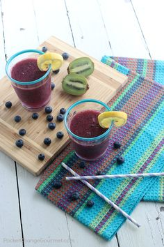 Make this refreshing Blueberry Kiwi Lemonade Slush to enjoy on the deck or at your next party! Kid friendly! Add some alcohol if you like!