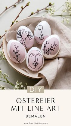 Ostereier bemalen mit Line Art und Oneline Illustrationen – Well come To My Web Site come Here Brom Egg Crafts, Easter Crafts, Crafts For Kids, Diy Osterschmuck, Easter Egg Designs, Diy Ostern, Coloring Easter Eggs, Diy Easter Decorations, Ramadan Decorations