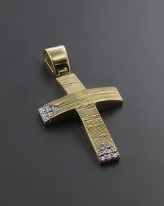 Σταυρός βάπτισης χρυσός & λευκόχρυσος Κ14 με Ζιργκόν Christian Symbols, Wall Crosses, Cross Jewelry, Cross Paintings, Christening, Christianity, Pendants, Casual Styles, Welding