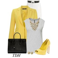 """Hint of Yellow"" by talvadh on Polyvore"