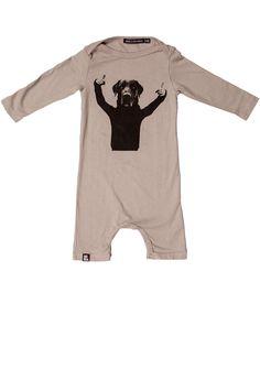 Grijs baby pak van Mini and Maximus met print Thumbs up aan de voorzijde.