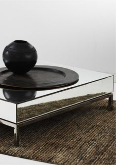 Shop Mirrored Cube Coffee Table at Interiors Online. Exclusive High End Furniture. Cube Coffee Table, Mirrored Bedroom Furniture, Mirrored Coffee Tables, Mirror Panels, Interiors Online, Table Sizes, Flower Vases, Contemporary Design, Stainless Steel