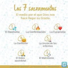 Te explicamos mediante emojis el medio por el que Dios nos hace llegar su Gracia: los 7 sacramentos. Catholic Prayers, Catholic Catechism, Holy Monday, 7 Sacraments, Catholic School, Motivational Quotes, Bible, Faith, God