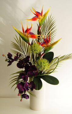 Artificial Floral Arrangements For Interior Decor: Exotic Artificial Flower Arrangement Tropical Colours In Cream For Artificial Floral Arrangements Idea by angelia