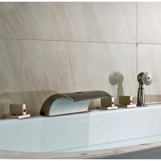 triple handle swan bathtub faucet in silver and crystal bathtubs