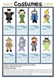 English worksheet: Costumes (1/2)