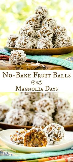 No-Bake Fruit Balls are a chewy energy-rich snack with natural sweetness from fruit and honey. Almonds are on the inside and coconut on the outside.