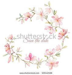 wreath of flowers in watercolor style with white background