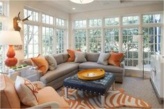 44 Stunning Navy and orange Living Room 32 Navy Ottoman with Silver Nailhead Trim Design Ideas 8 Living Room Paint, Living Room Colors, Living Room Grey, Rugs In Living Room, Living Room Furniture, Living Room Designs, Orange And Grey Living Room Decor, Oranges Sofa, Grey Sectional Sofa