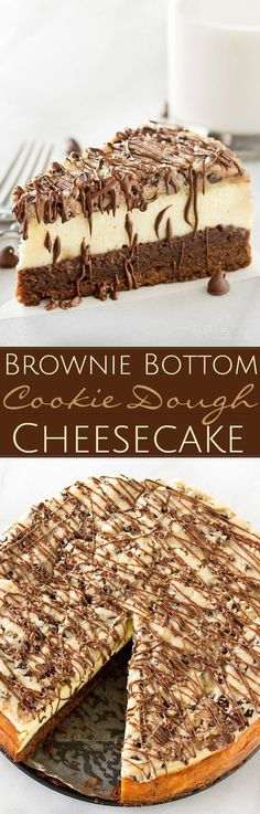 Brownie-Bottom-Cookie-Dough-Cheesecake | This impressive, yet super easy, brownie bottom cookie dough cheesecake looks as fancy as any dessert you've had from a restaurant! The ULTIMATE cheesecake for the ULTIMATE dessert lover!