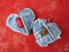 Upcycled Denim Heart Shape Earrings Diy Denim Earrings, Crochet Earrings, Heart Shaped Earrings, Diy Jewelry Making, Diy Accessories, Upcycle, Reuse, Denim Ideas, Heart Jewelry