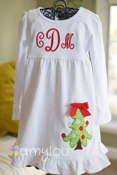 White Ruffle Monogram Dress with Christmas Tree by amyloubaby
