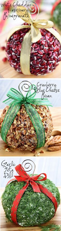 Christmas Ornament Cheese Balls ~ a fun, festive addition to your holiday party menu in three mouthwatering flavors -- Cranberry, Blue Cheese, Christmas Brunch, Christmas Appetizers, Christmas Fun, Christmas Ornaments, Christmas Recipes, Christmas Meals, Holiday Foods, Christmas Goodies, Holiday Recipes