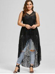 See Through High Low Lace Plus Size Top - BLACK 4XL Mobile