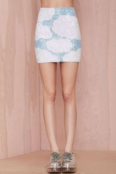 DI$COUNT TRA$H In the Clouds Sequin Skirt - Skirts   DI$COUNT TRA$H      Skirts