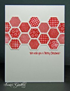 hand crafted card ... Happy Hexagons ... red stamped patterns ... punche and placet in a band ... great look ... Stampin' Up!