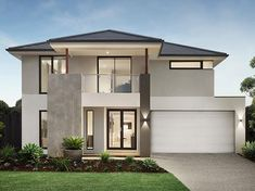 haus design Australian home building Arden Homes will now include a Tesla Powerwall in their new homes through a partnership with Bradford Solar. 2 Storey House Design, Two Storey House, House Front Design, Modern Exterior House Designs, Modern House Facades, Modern House Design, Modern Houses, Contemporary House Plans, Modern House Plans