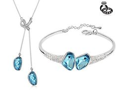 Ninabox ® Cool Breeze Collection [CBC] -- Free Wind. 18K White Gold Plated Alloy Jewelry Sets With Light Blue Austria Swarovski Elements Crystal. Necklace And Bracelet Fashion Jewelry Set . TAG04755WB ninabox,http://www.amazon.com/dp/B00D9GRCQC/ref=cm_sw_r_pi_dp_qplpsb0EM75PE64Y