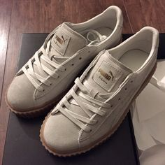 Puma by Rihanna Creepers, Oatmeal sz. 7.5 These FentyxPuma creepers are HOT and sold out everywhere!! I am willing to trade in this or another color in a 6.5. I bought these hopeful that they would run small and fit my feet but sadly they don't. These babies deserve to be worn!! Puma Shoes Sneakers