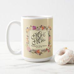 Mr & Mrs Elegant Floral Wedding bo Mug simple clear clean
