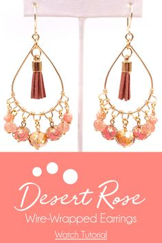 How-To Jewelry Tutorial: Desert Rose Earring Tutorial Rose Earrings, Beaded Earrings, Beaded Jewelry, Handmade Jewelry, Jewellery, Diy Jewelry Projects, Jesse James, Earring Tutorial, Wire Wrapped Earrings