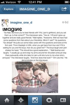 Imagine Niall. Aw Niall that's so cute