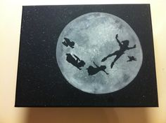 This is an original acrylic silhouette painting of Peter Pan, Tinkerbell, and the Darling children flying in front of the moon to go to Neverland.