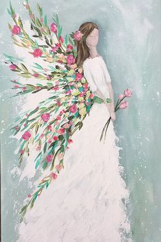 This beautiful Angel painting is perfect to adorn any home. Angel Artwork, Angel Paintings, Angel Drawing, Garden Angels, Angel Pictures, Wow Art, Whimsical Art, Painting Inspiration, Painting & Drawing