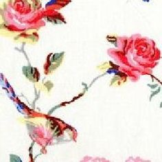Cath Kidston - Birds and Roses Furnishing Fabric - White  curtainsmadesimple.net