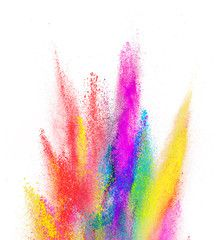 Illustration : Explosion of colored powder on white background