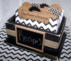 Great for  bridal shower! Recipe Box  Black and White Chevron Dividers by peachykeenday, $48.00