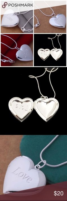 925 Silver Plated Heart Locket & Chain Lovely 925 Silver Plated Heart Locket and Chain. The pendant opens and holds two photos.   Necklace  Size: 18 inches/ 46 cm   Pendant Size: 3.1 cm x 2.6 cm   Condition: 100% Brand NeW  Makes a great gift! 🎁 Jewelry Necklaces