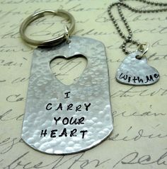 I Carry Your Heart With Me Set -  1 Key Chain - 1 Heart Necklace -His and Hers - Fiance BFF Boyfriend Husband Partner  Valentines Day