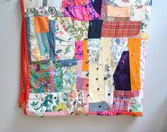 Vintage Patchwork Quilt Hand Sewn. I would want to make this with pieces of fabric I keep from meaningful things in my life