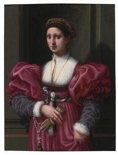 Vincenzo Tamagni   Lot   Sotheby's SAN GIMIGNANO 1493 - 1530 PORTRAIT OF A LADY IN A CRIMSON DRESS