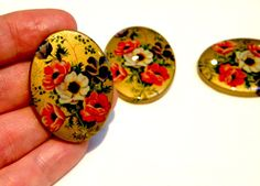 More great cabs to make holiday gifts from !!  Cabochon  3 Rare Vintage Floral and Gold by bansheehouseofmake, $10.00