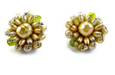 Vintage Cluster Bead Earrings Wired Blister by EclecticVintager,